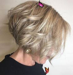 9 #14: Extra Short Feathered Bob A curly bob with a stacked back is the best choice for fine hair that needs a little extra oomph. The delicate blonde color and the long, chin-length bangs also add an air of sophistication and subtle sensuality. Thick hair Thick-hair Short wavy hair Wedding hairstyles Weddings Short haircuts Braided hairstyles Bob hairstyles Medium hairstyles Pixie haircuts Short cuts Fine hair Curly hairstyles Lace wigs Medium lengths Casual hairstyles Trendy hairstyles<br> Bob Haircut For Fine Hair, Bob Hairstyles For Fine Hair, Layered Bob Hairstyles, Casual Hairstyles, Pixie Haircuts, Braided Hairstyles, Wedding Hairstyles, Glasses Hairstyles, Haircut Men