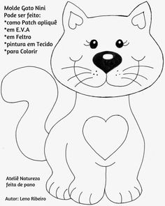 Taller de NATURE hecho de tela: molde artesanal Cat Nini paso a paso - Nähsachen - Gatos Cat Applique, Applique Patterns, Applique Designs, Cat Template, Easy Coloring Pages, Cat Quilt, Animal Quilts, Sewing Appliques, Cat Crafts