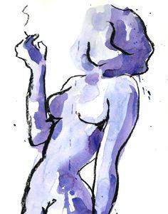 Sultry Satisfaction : Female Nude Figure watercolor painting by ArtWithSarah on Etsy Cool Art Drawings, Art Drawings Sketches, Indie Drawings, Art Diary, Arte Sketchbook, Funky Art, Hippie Art, Diy Canvas Art, Painting & Drawing