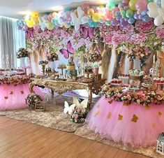 Princess Birthday Party Decorations, 1st Birthday Party For Girls, Girls Party Decorations, Girl Birthday Themes, Garden Birthday, Fairy Birthday Party, Girl Baby Shower Decorations, Birthday Parties, Butterfly Baby Shower