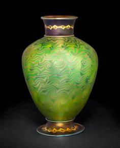 ** Tiffany Studios, New York, Iridescent Favrile Glass Byzantine Vase.