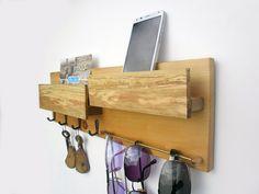 Wooden key rack with mailbox entryway organizer