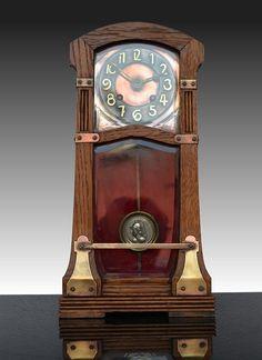 Art Nouveau/ Arts and Crafts wooden Clock