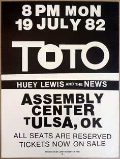 1982 Toto and Huey Lewis and the News Tulsa Concert Poster  Remember this one well