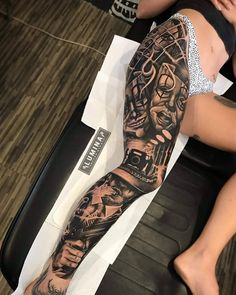 full sleeve tattoos with meaning Chicano Tattoos Sleeve, Forarm Tattoos, Best Sleeve Tattoos, Dope Tattoos, Badass Tattoos, Tattoo Sleeve Designs, Body Art Tattoos, Girl Tattoos, Tattoos For Guys