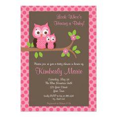 Pink Damask Owl Baby Shower Invitation