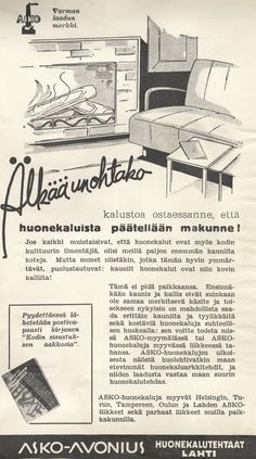 Älkää unohtako kalustoa ostaessanne, että huonekaluista päätellään makunne! - Askon vanha lehtimainos vuodelta 1935