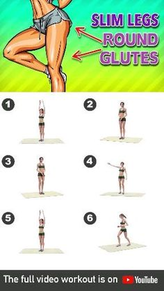 Slim Legs + Round Glutes Workout At Home - Lower body is a problem for may people – because our body seems to prefer this area to store its - Workout Videos For Women, Gym Workout Videos, Gym Workout For Beginners, Abs Workout Routines, Fitness Workout For Women, Fitness Routines, Fitness Workouts, At Home Workouts, Chest Workouts