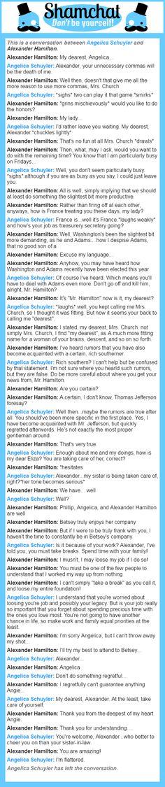 A conversation between Alexander Hamilton and Angelica Schuyler  My roleplays as A. Ham