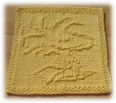 """Woodstock - Knit Washcloth  ... I made one of these (not this one) ... """"Woody"""" pattern on Ravelry"""