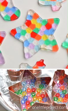These melted bead ornaments are SO BEAUTIFUL! And they're so easy to make with pony beads! You can hang them on the Christmas tree, or use suction cup hooks on the window to turn them into sun catchers. for kids Melted Bead Ornaments Xmas Crafts, Diy Crafts To Sell, Diy Crafts For Kids, Fun Crafts, Kids Diy, Creative Crafts, Summer Camp Crafts, Science Crafts, Easy Science Experiments