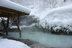 "Rotenburo (outdoor baths) in Nozawa Onsen • ""Rotenburo are hot springs located outdoors. Most ryokan have both indoor and outdoor baths."""