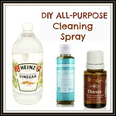 DIY All-Purpose Natural Cleaning Spray Ingredients: 1 Cup Distilled Water 1 Cup White Vinegar 1 T Liquid Castile Soap (Such as Dr. Bonners) ...