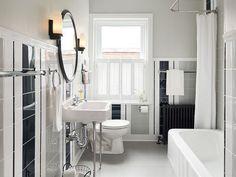 salle de bain rétro chic en blanc, noir et gris