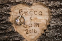 Hand Carved names, wedding rings