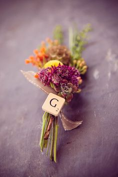 Wedding Buttonhole and Boutonnière Ideas ~ Vintage, Retro, Whimsical and Naturally Wild... I like the scrabble tile