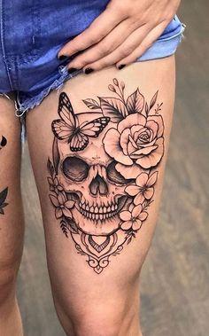 Skull Tattoos: 80 sensational Photos [Women and Men] – I love tattoos Skull tattoos: - tatoo feminina Feminine Skull Tattoos, Floral Skull Tattoos, Skull Thigh Tattoos, Small Skull Tattoo, Skull Tattoo Flowers, Skull Sleeve Tattoos, Floral Thigh Tattoos, Sugar Skull Tattoos, Cute Tattoos On Thigh
