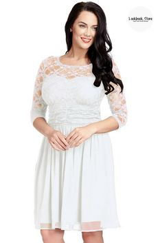 What's New // Be angelic when you appear in this plus size white lace crop-sleeves skater dress.