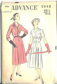 Vintage 1950s Belted Womens Knee Length Dress Advance Sewing Pattern 5948 Bust 30 Hip 33 Waist 25