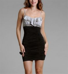 black/ silver ruched cocktail dress