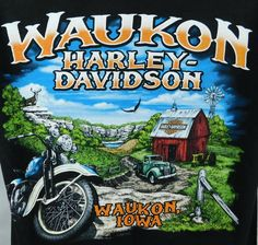 Waukon Iowa Harley Davidson Motorcycles Deer Barm Graphic T-shirt Medium Black  #HarleyDavidson #GraphicTee