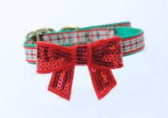 Holiday Dog Collar with Bow by MuttsnBones on Etsy