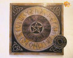 Viking Ouija Board-spirit board-occult-halloween gift-divination tool-handmade-pine wood-custum made-pagan gift