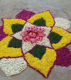 50 Mesmerizing Rangoli Designs And Patterns For 2019 Rangoli Designs Latest, Rangoli Designs Flower, Colorful Rangoli Designs, Rangoli Ideas, Rangoli Designs Diwali, Flower Rangoli, Beautiful Rangoli Designs, Flower Designs, Kolam Rangoli