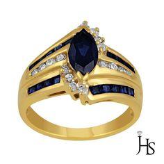 14K Yellow Gold 0.15 CT Round Diamond With Marquise Created Sapphire Ring - JHS #WomensFancyGemStoneRingJHS