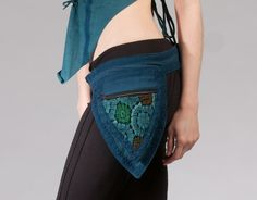 teal - PIXIE belt fairy belt ELF belt Pocket BELT Waist belt Hip pouch psy trance belt fanny pack