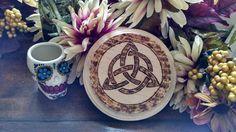 Triquetara Altar Tile Handmade Woodburned Yule by HoneyVineMagickals on Etsy