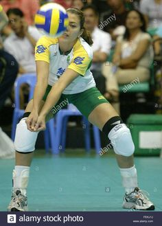 Leila Barros in Brazil and Korea during the World Grand Prix Women volleyball in Manila, Philippines on Sunday, 18 July 2004. Brazil beat Korea