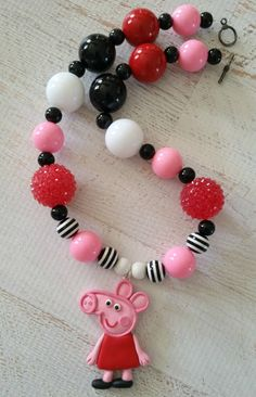 Peppa pig necklace, peppa pig birthday party, chunky bubblegum necklace by PaigeandPenelope, $24.00