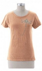 #ECsknyteedrgnflywrds Dragonfly Words Print On Ladies Skinny Tee - This dragonfly carries a positive message on a great fitting tee.  Fabric is clay-dyed 100% Organic Cotton.  Made in the USA. $39.00  www.stylishorganics.com