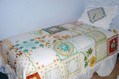 Vintage hankie quilt! What a fabulous idea! by jimmie