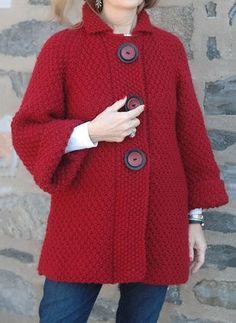 Holt by Kim Hargreaves in Erika Knight Maxi wool in MarniThis Pin was discovered by Cec Crochet Coat, Knitted Coat, Hand Knitted Sweaters, Crochet Cardigan, Crochet Clothes, Cardigan Pattern, Sweater Knitting Patterns, Knitting Designs, Only Cardigan