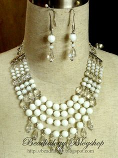 Clear, Milky White Glass beads 4 strands Necklace & Earrings Set