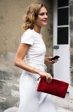 White dress-red clutch