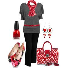 Plus Size Work in Red, White & Black - Love the colors and scarf but i would change out the shoes follow my board for more plus size outfit outfits and ideas