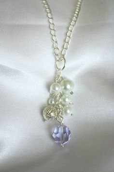 White Glass Pearl and Crystal Cluster Beaded by ConceptAna on Etsy