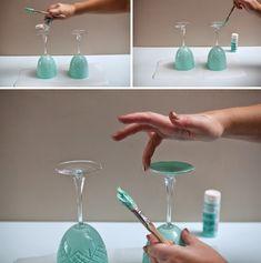 I.D.E.A: DIY. Copas de vino pintadas a mano. Procedimiento.
