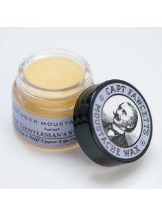 """Cera para Bigote """"Captain Fawcett's Lavender Moustache Wax"""" hecha a mano para fijar el bigote con un suave aroma a lavanda."""