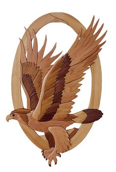 Gielish Wood Sculpture - Intarsia Wood Art - Eagle