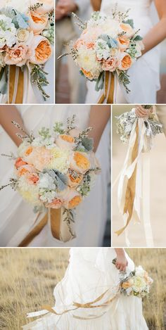 Country house wedding: The best tips, ideas & inspiration for country style Apricot bridal bouquet Images: © ️️ Pepper Nix Photography Summer Wedding Colors, Diy Wedding Flowers, Whimsical Wedding, Diy Wedding Decorations, Bridal Flowers, Flower Bouquet Wedding, Floral Wedding, Apricot Wedding, Small Wedding Receptions