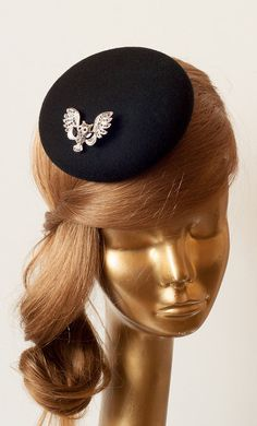 Amazing Black Fascinator Hat for Women with Brooch. Black Felt Cocktail Hat by ancoraboutique, $68.00