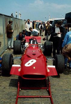 Ferrari 312 in the Zandvoort paddock in 1969. Amon 3rd in the Dutch GP won by Stewart's Matra MS80 Ford (unattributed)...
