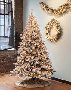 7.5' Pre-Lit Snowy Pine Flocked Medium Artificial Christmas Tree - Clear Lights, White