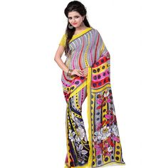 Good-looking Yellow Color Faux Georgette Printed Saree at just Rs.430/- on www.vendorvilla.com. Cash on Delivery, Easy Returns, Lowest Price.
