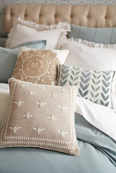 Inspired by Napoleonic France, the noble bee was once a symbol of power, prestige and resurrection. But we think these cute embroidered versions from Pier 1 are symbols of a good night's sleep in a glamorous bedroom. Bees Knees, Luxurious Bedrooms, Luxury Bedrooms, Soft Furnishings, Home Textile, Cushion Covers, Home Remodeling, Home Accessories, Sewing Projects