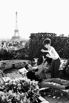 Audrey Hepburn and William Holden on the set of Paris When It Sizzles, photographed by Bob Willoughby in 1964